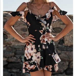 2 Left! Black Ruffle Floral Off Shoulder Dress